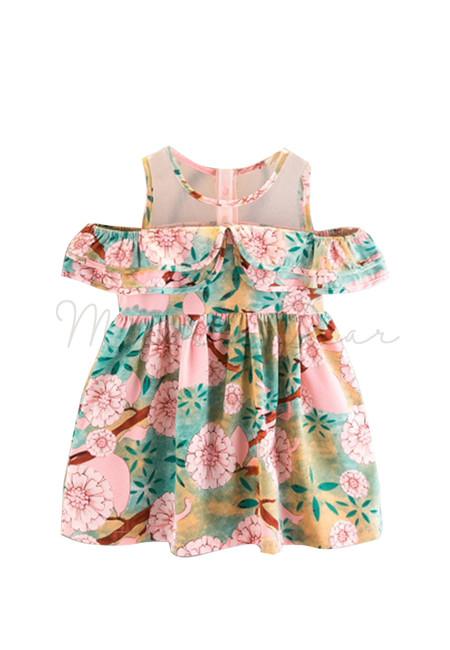 Spring Floral Semi Off Shoulder Dress