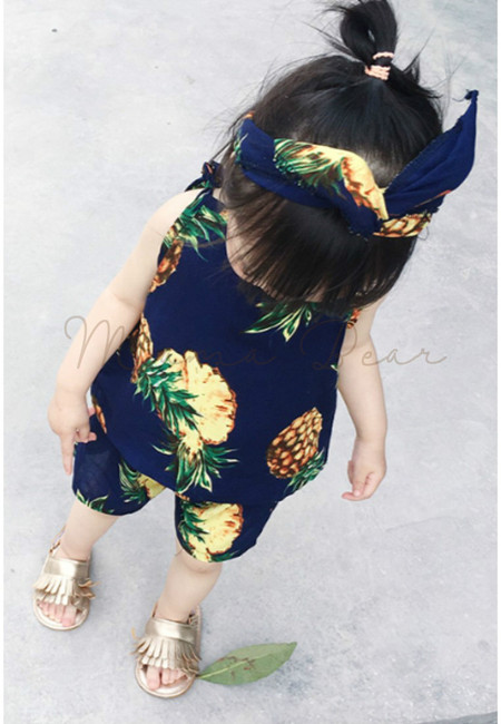 Summer Pineapple Print Clothing Set with Headband
