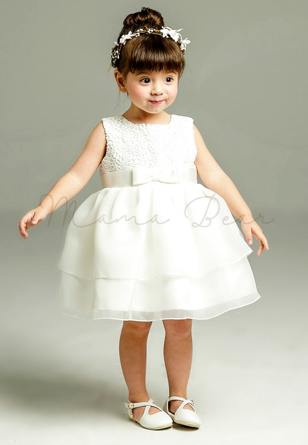 Rose Pattern with Ribbon Ball Gown Party Dress (3M-24M)