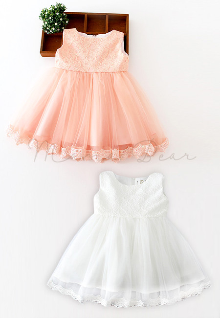 Floral Lace with Ribbon Ball Gown Party Dress (3M-12M)