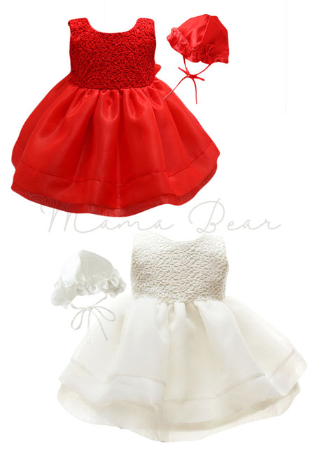 Floral Pattern with Hat Ball Gown Party Dress (3M-24M)