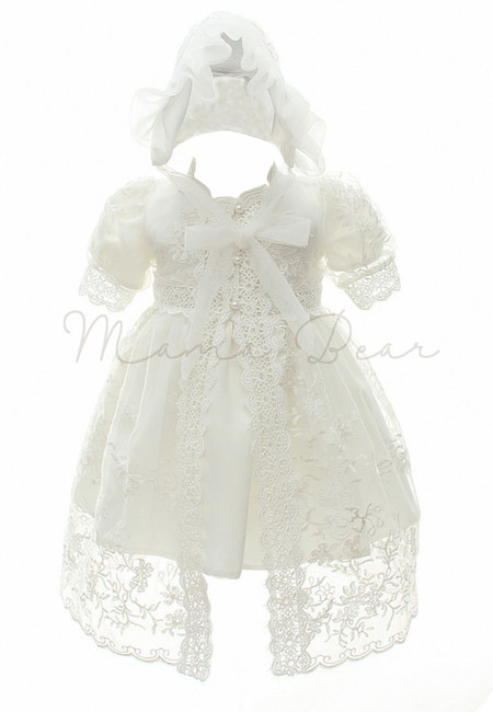 White Shortsleeve with Hat and Cardigan Ball Gown Baptismal Dress (3M-24M)