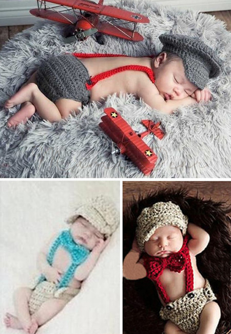 Knitted Crochet Suspender Style Baby Costume Set