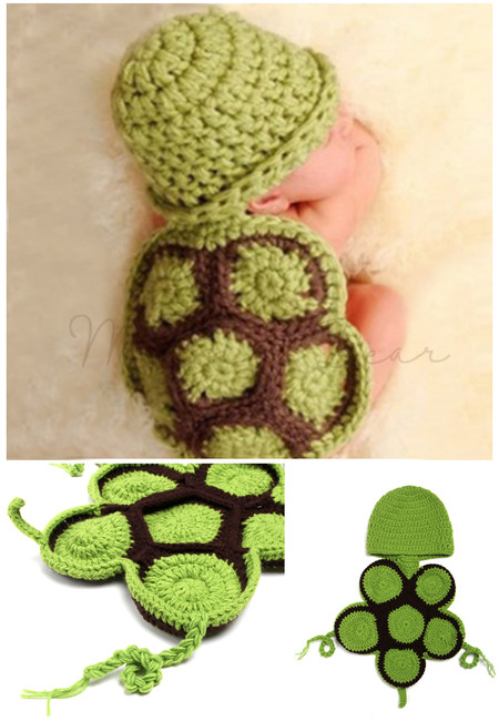 Turtle Shell Knitted Crochet Baby Costume Set