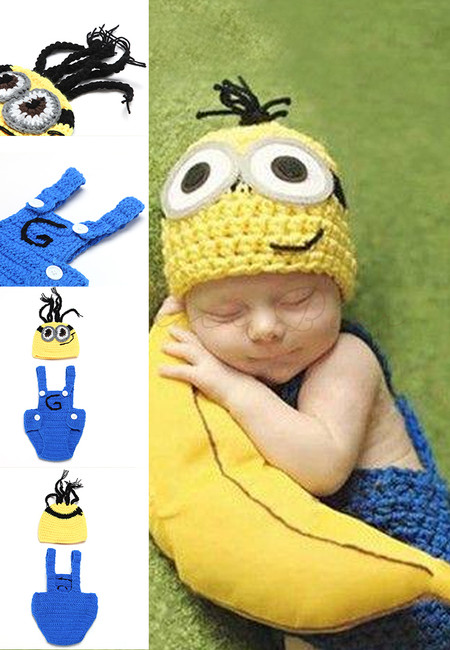 Minion Suspender Style Knitted Crochet Baby Costume Set
