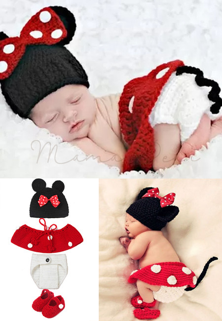 Minnie Mouse Knitted Crochet Baby Costume Set