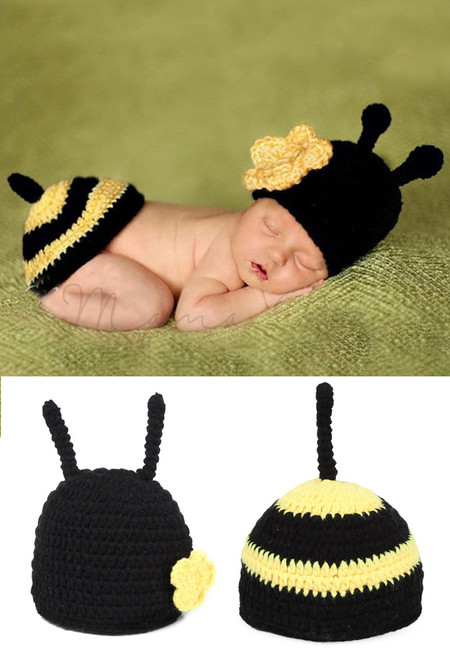 Little Bee Knitted Crochet Baby Costume Set