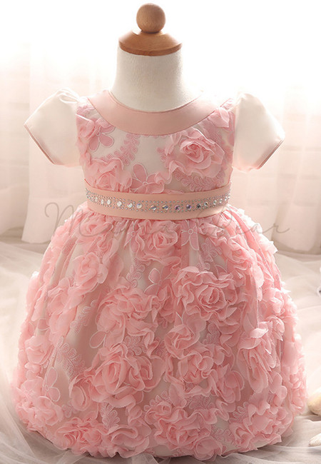 Ruffled Rose Shortsleeve Ball Gown Party Dress