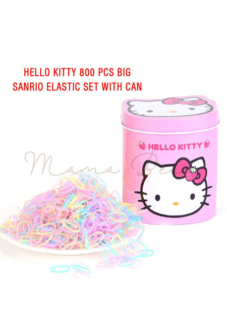 800pcs Hello Kitty Sanrio Hair Tie Set with Can