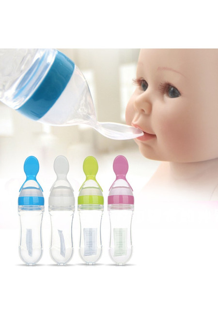Baby Silicon Squeeze Feeding Bottle with Spoon