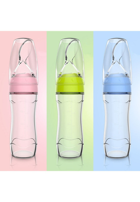 2 in 1 Baby Squeeze Feeding Bottle  with Spoon and Cup