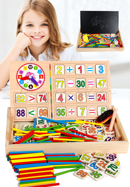 Kids Math Learning Wooden Numbers Clock Puzzle With Chalkboard Educational Toy