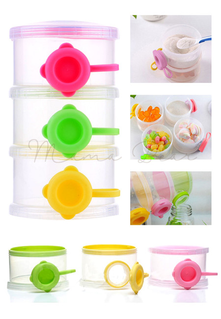 3 Layers Milk Powder Dispenser Baby Feeding Formula Storage Snack Container