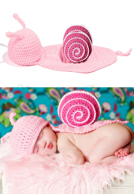 Baby Infant Snail Crochet Knitting Costume Soft Adorable Clothes