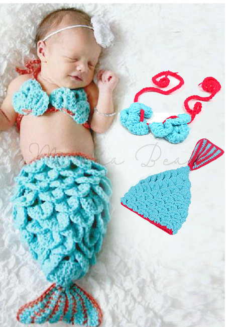 Crochet Knit Newborn Mermaid Tail Costume