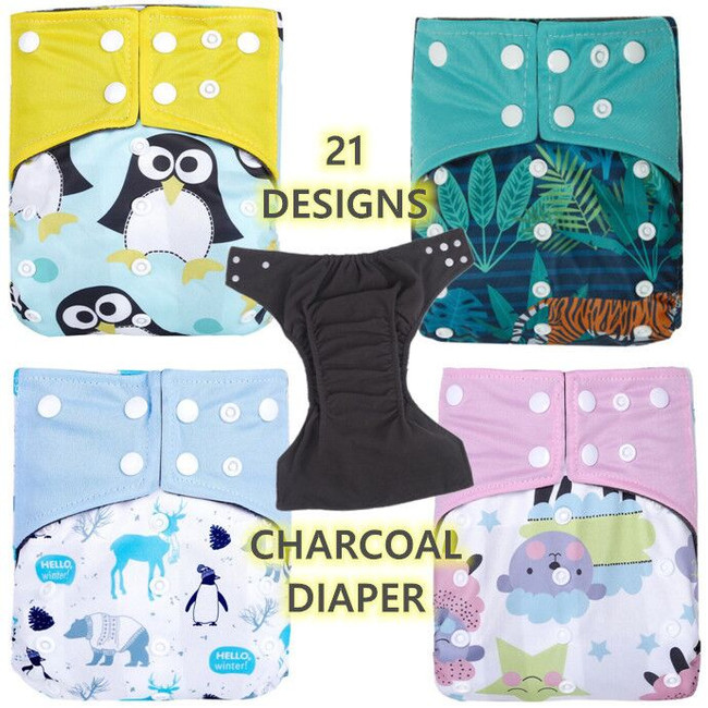 Adjustable Baby Diapers Charcoal Washable Diaper Deodorization Nappy Fast Dry Nappies