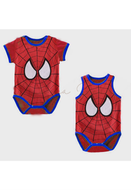 Spiderman Print  Babysuit