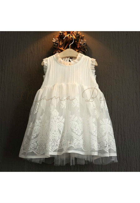 Lovely White Lacey Sleeveless Kids Dress