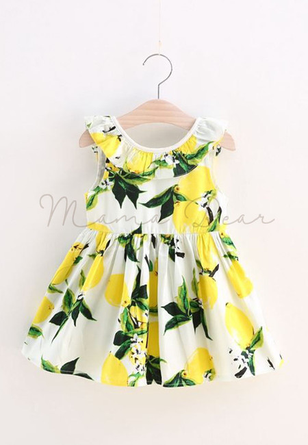 Summer Lemon Print Kids Dress