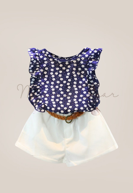 Polka Flower Kids Top and Shorts Set