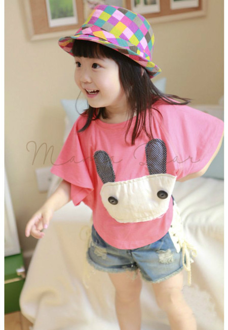 Cute Bunny Patched Kids Batwing Top