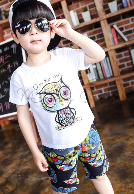 Cool Owl Print Kids Top and Shorts Set