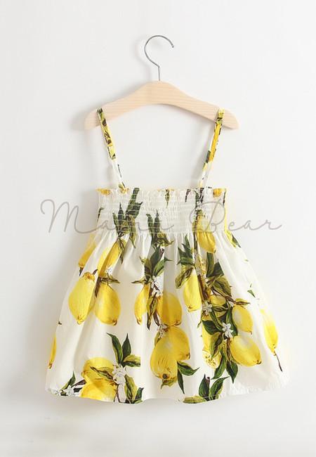 Summer Lemon Print Sleeveless Kids Dress