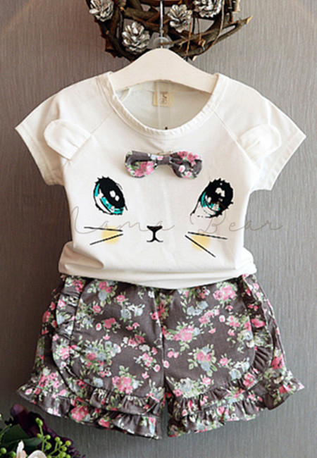 Cat with Ears Kids Top and Floral Shorts Set