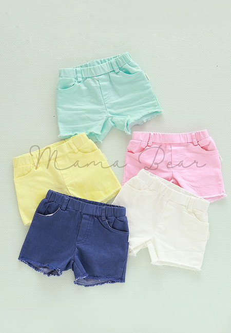 Candy Colored Soft Denim Kids Shorts