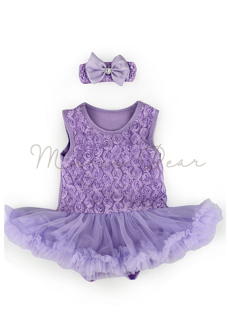 Lavender Ruffled Roses Baby Tutu Set
