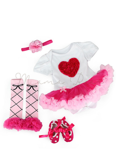 Rosepink Heart Baby Tutu Set