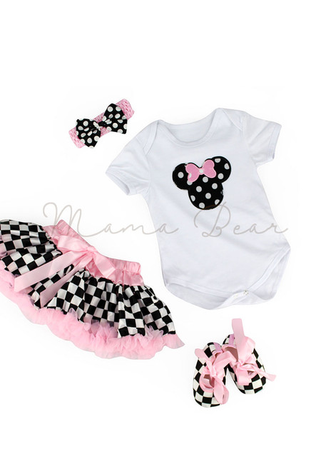 Minnie Mouse Checkered Baby Tutu Set