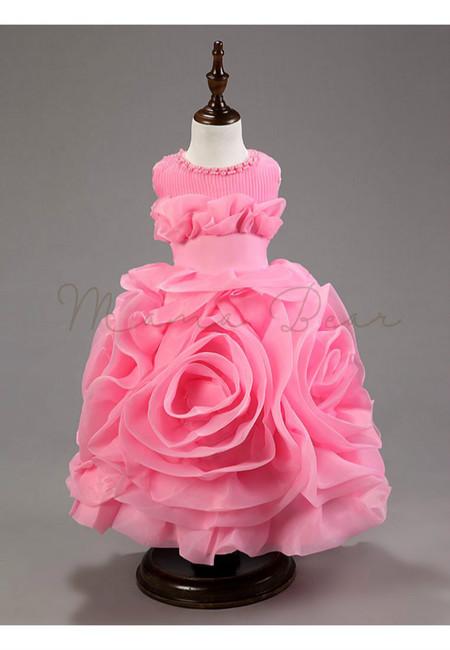 Summer Organza Multilayered Flower Sleeveless Ball Gown