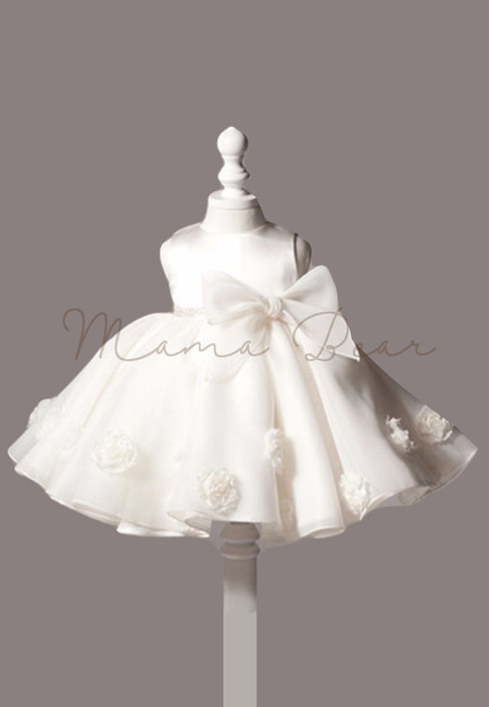 Lovely White Rose With Bowknot Sleeveless Ball Gown Dress