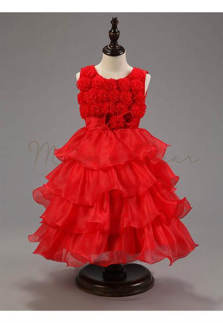 Stylish Flower Bowknot Organza Multilayered Dress