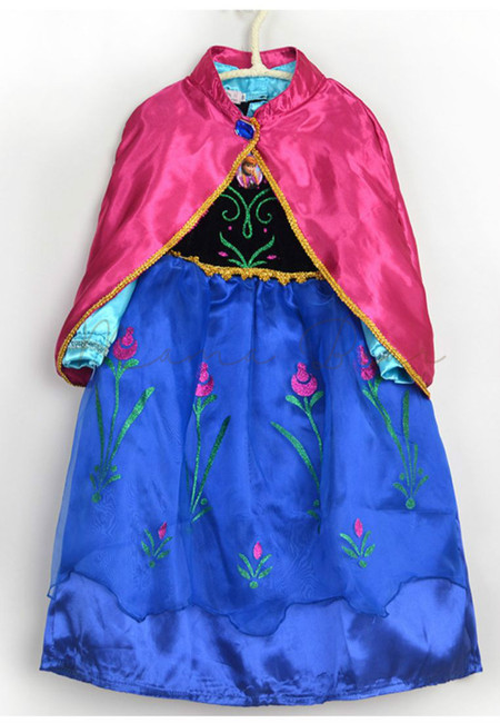 Anna Kid Costume with Pink Cloak