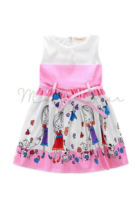 Little Girls Print Sleeveless Dress