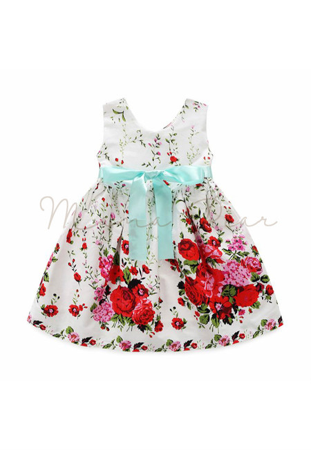 Summer Flower Print With Bowtie Kids Dress