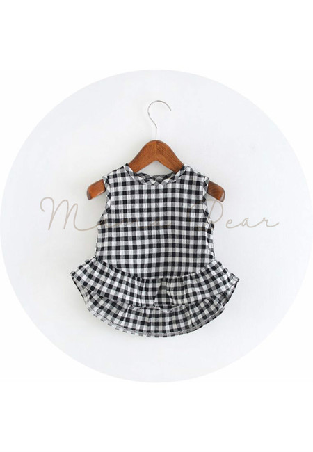 Sleeveless Checkered Stripes Kids Top
