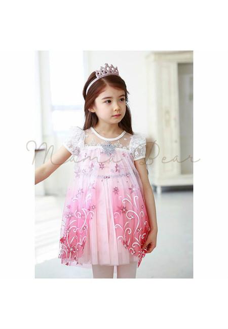 Lovely Flower Print Queen Elsa Kids Costume