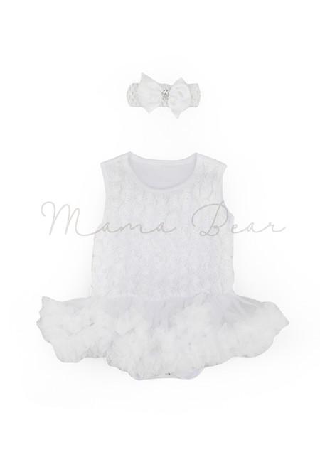 White Ruffled Roses Baby Tutu Set