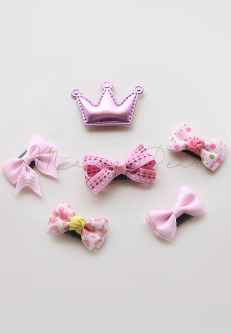 Lovely Pink Ribbons Baby/Kids Hair Clip Set
