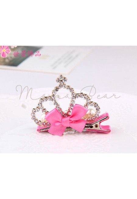 Queen Crown Kids Hair Clip (Rose Pink)
