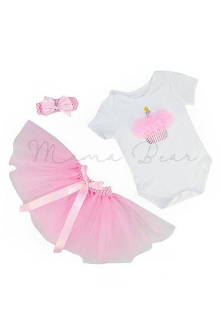 Pink Cuppycake Babysuit With Tutu Skirt Set