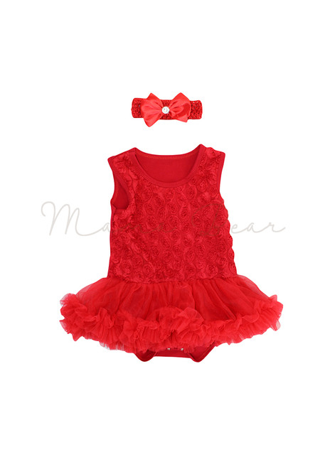 Red Ruffled Roses Baby Tutu Set