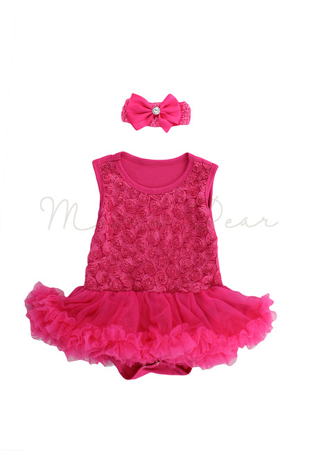 Rose Pink Ruffled Roses Baby Tutu Set