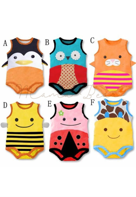 Cute Animals Sleeveless Kids Bodysuit