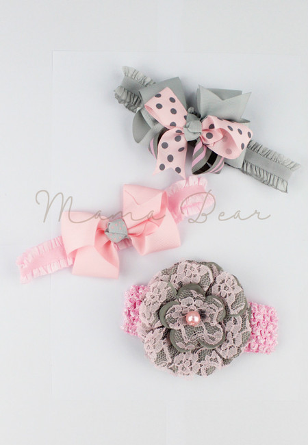 Chic Baby Accessory Set (Pink&Gray)