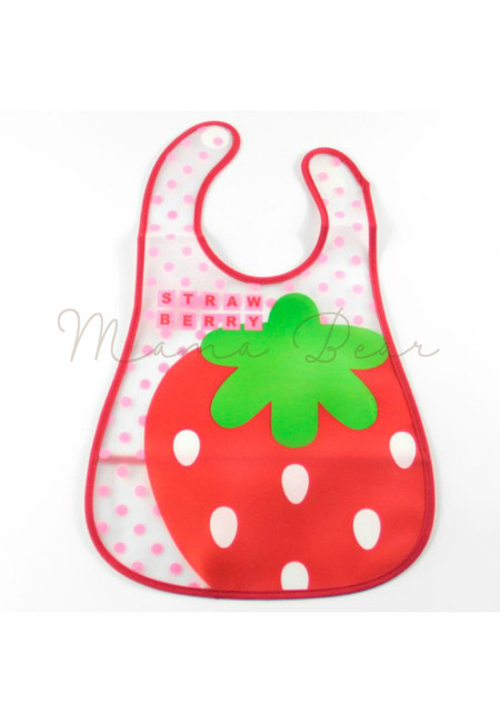 Strawberry Waterproof Baby Bib With Pocket