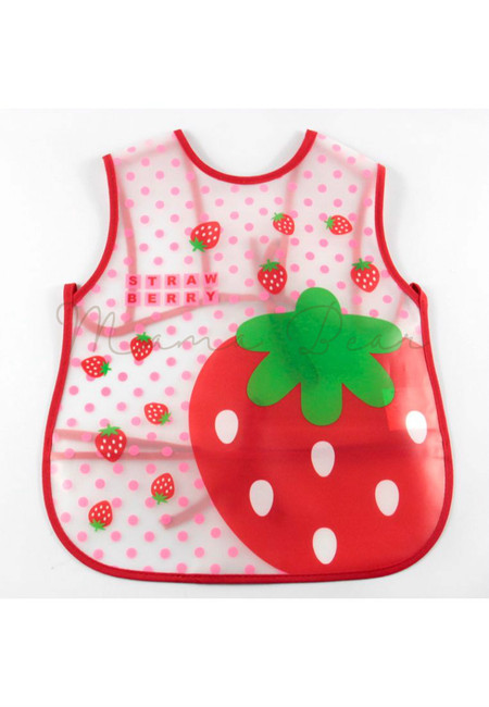 Adjustable Strawberry Waterproof Baby Bib With Pocket